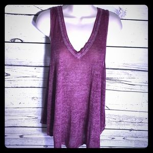 Free People V-Neck Sleeveless Breezy Burnout Tank